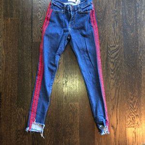 Denim - Red Striped skinny jeans